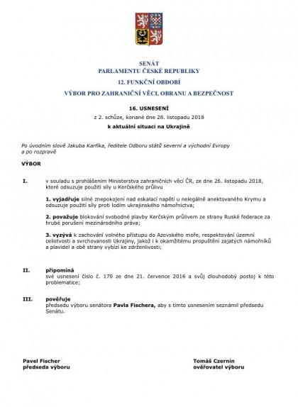 Tisková zpráva: Zahraniční výbor Senátu jednomyslně přijal usnesení o aktuální situaci na Ukrajině