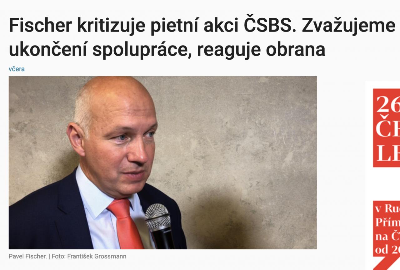 Aktuálně.cz: Fischer kritizuje pietní akci ČSBS. Zvažujeme ukončení spolupráce, reaguje obrana