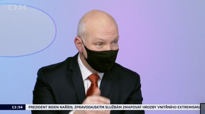 Pavel Fischer v Otázkách Václava Moravce 24. ledna 2021